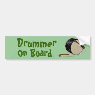 Davul Tupan Drummer On Board Bumper Sticker Green