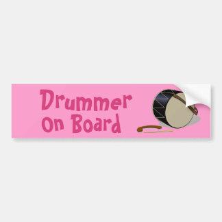 Davul Tupan Drummer On Board Bumper Sticker Pink