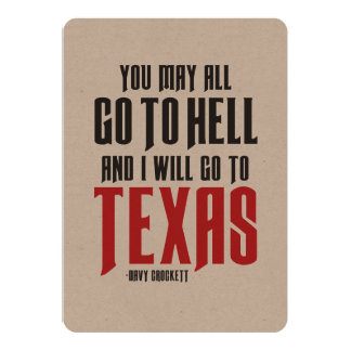 Davy Crockett Quote Texas Card or Invitation