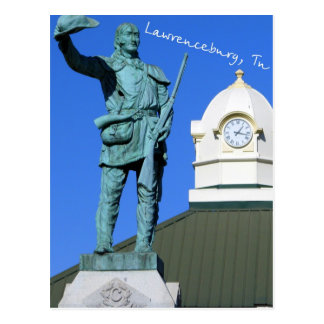 Davy Crockett Statue - Lawrenceburg, TN Postcard