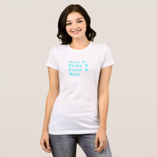 """Davy/Micky/Peter/Mike"" Aqua Typewriter T-Shirt"