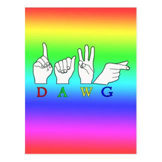 DAWG ASL FINGERSPELLED NAME SIGN POSTCARD