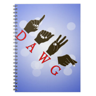 DAWG FINGERSPELLED SLANG ASL NAME SIGN BLACK HANDS NOTEBOOK