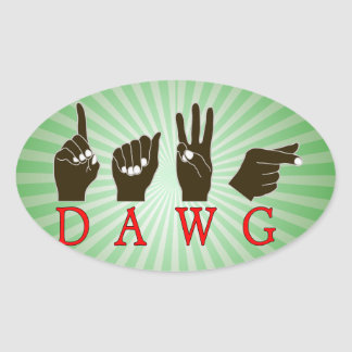 DAWG FINGERSPELLED SLANG ASL NAME SIGN BLACK HANDS OVAL STICKER