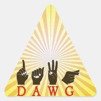 DAWG FINGERSPELLED SLANG ASL NAME SIGN BLACK HANDS TRIANGLE STICKER