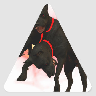 Dawg superior pegatina triangular