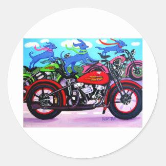 Dawgs en Hawgs - perros en las motocicletas Etiquetas Redondas