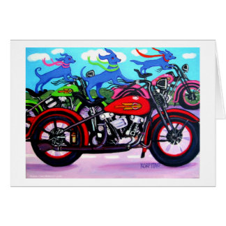 Dawgs on Hawgs - Dogs on Motorcycles Card