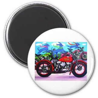 Dawgs on Hawgs - Dogs on Motorcycles Magnet