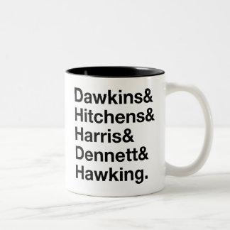 Dawkins&Hitchens&Harris&Dennett&Hawking - ciencia Taza De Dos Tonos