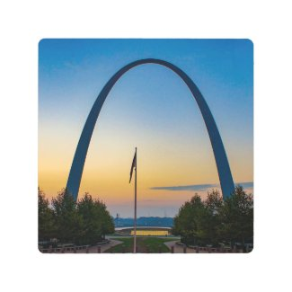 Dawn at Gateway Arch Metal Print