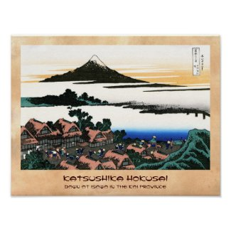 Dawn at Isawa in the Kai province Hokusai Poster