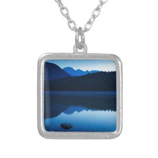 Dawn at Lake Bohinj in Slovenia Square Pendant Necklace