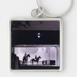 Dawn at Saratoga Springs, 1963 Silver-Colored Square Keychain