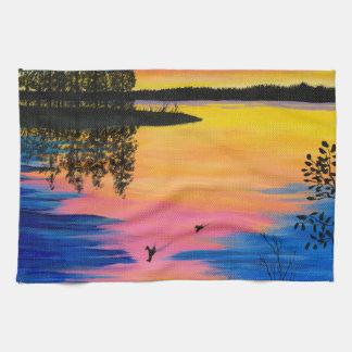Dawn at the Lake Kitchen Towels