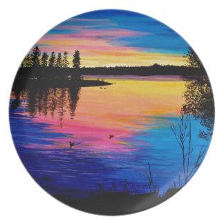 Dawn at the Lake Melamine Plate