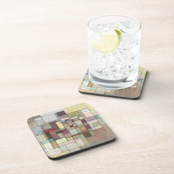 Dawn Beach Lattice Abstract Painting - 6 Coasters