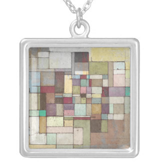 Dawn Beach Lattice Abstract Painting Necklace