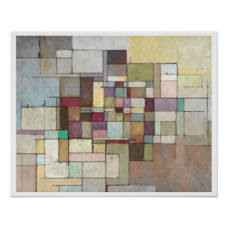 Dawn Beach Lattice Abstract Painting Poster