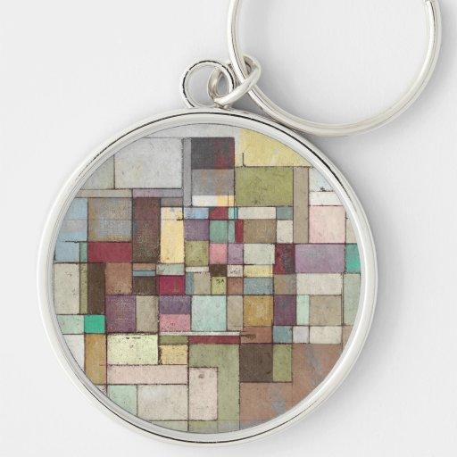 Dawn Beach Lattice Abstract Painting Silver-Colored Round Keychain