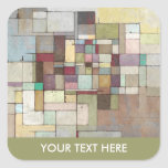 Dawn Beach Lattice Abstract Painting Square Sticker
