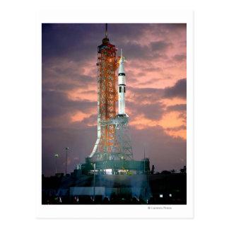 Dawn breaks behind ASTP Saturn IB CDDT Postcard