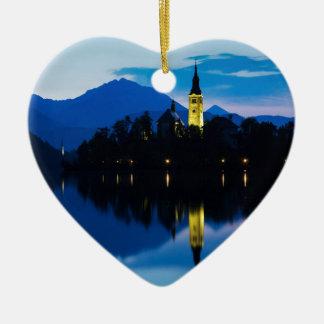 Dawn breaks over Lake Bled Ceramic Ornament