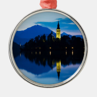 Dawn breaks over Lake Bled Metal Ornament