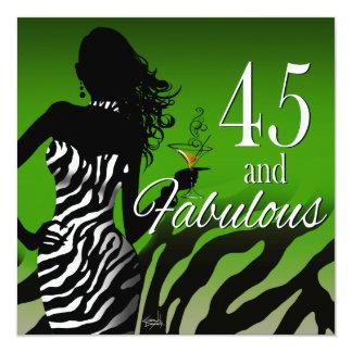 Dawn ::CUSTOM:: Bombshell Zebra 45th Birthday Personalized Invitation