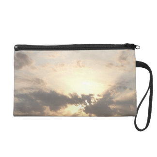 Dawn dusk sky landscape with clouds nature photo wristlet clutches