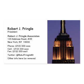 Dawn: Empire State Building still lit up Pink 01 Business Card Templates