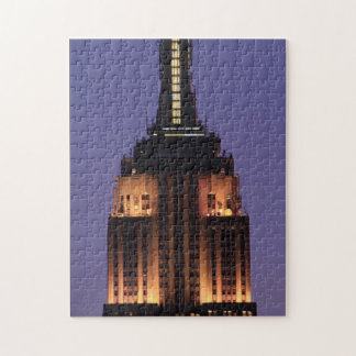 Dawn: Empire State Building still lit up Pink 01 Jigsaw Puzzle