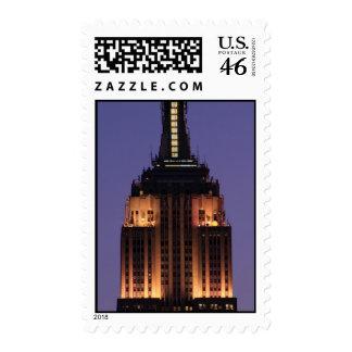 Dawn Empire State Building still lit up Pink 01 Postage Stamp
