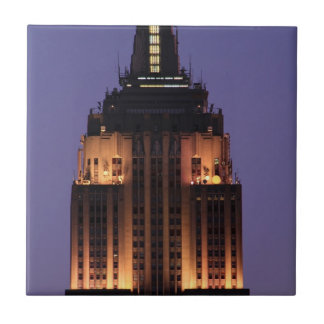 Dawn: Empire State Building still lit up Pink 01 Ceramic Tiles