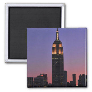 Dawn: Empire State Building still lit up Pink 02 Magnets