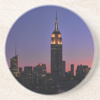 Dawn: Empire State Building still lit up Pink 03 Beverage Coasters