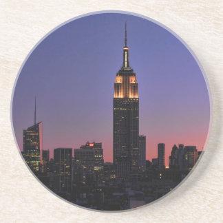 Dawn: Empire State Building still lit up Pink 03 Drink Coaster