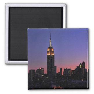 Dawn: Empire State Building still lit up Pink 03 Fridge Magnets