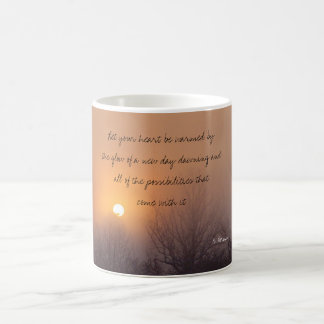dawn mist, Let your heart be warmed by the glow... Classic White Coffee Mug