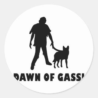 dawn of gassi hund classic round sticker