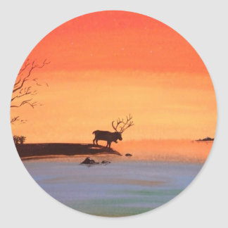 Dawn of Peace_Reindeer_Anjali Sanghi Round Stickers