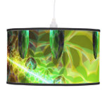 Dawn of Time, Abstract Gold Lime Green Fractal Hanging Pendant Lamps