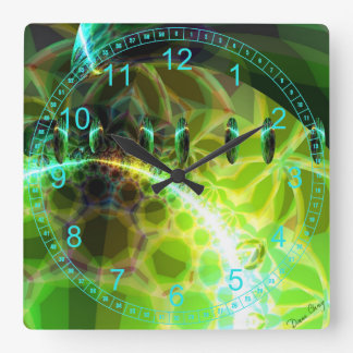 Dawn of Time – Lime & Gold Emerge Abstract Square Square Wall Clock