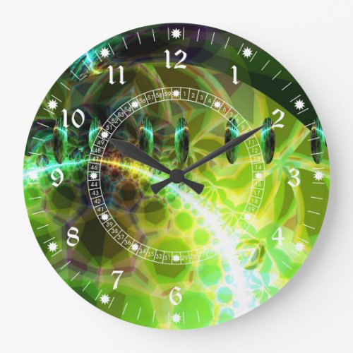 Dawn of Time – Lime &amp&#x3B; Gold Fractal Abstract Large Clock