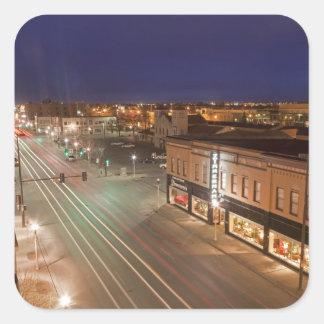 Dawn on Main Street of Bismarck, North Dakota Square Sticker