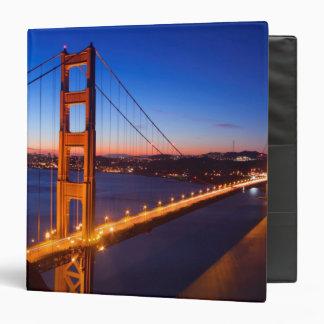 Dawn over San Francisco and Golden Gate Bridge. Vinyl Binder