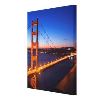 Dawn over San Francisco and Golden Gate Bridge. Canvas Print