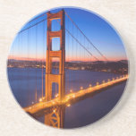 Dawn over San Francisco and Golden Gate Bridge. Drink Coaster