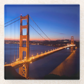 Dawn over San Francisco and Golden Gate Bridge. Glass Coaster