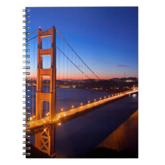 Dawn over San Francisco and Golden Gate Bridge. Notebook